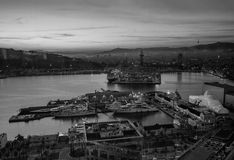 Vue aérienne du port de Vell avec le World Trade Center Photos libres de droits