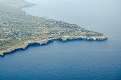 Vue aérienne du promontoire de Rama de capo, Sicile photo stock
