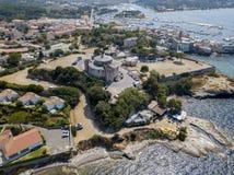 Vue aérienne du village du saint Florent, Corse, France photos stock