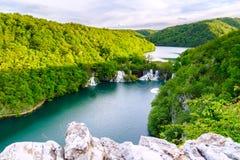 Vue aérienne en parc national de Plitvice Photo stock