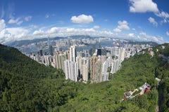 Vue aérienne grande-angulaire à la ville de Hong Kong, Chine Photos libres de droits
