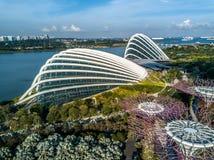 Vue aérienne, jardins par la baie, Singapour Photos stock