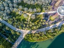 Vue aérienne, jardins par la baie, Singapour Photo libre de droits