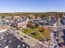 Vue aérienne Newton, mA, Etats-Unis de bâtiments historiques photographie stock libre de droits