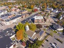 Vue aérienne Newton, mA, Etats-Unis de bâtiments historiques photo stock