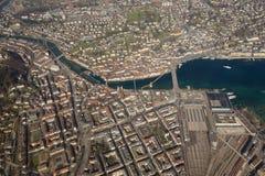 Vue aérienne p de lac city de Lucerne de pont de chapelle de luzerne de la Suisse Images libres de droits