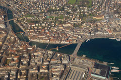 Vue aérienne p de ville de ville de Lucerne Suisse de pont de chapelle de luzerne Photos stock