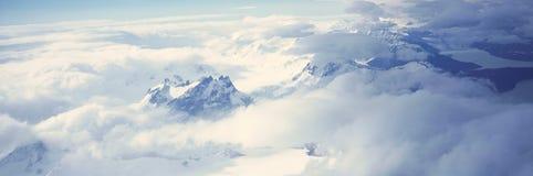 Vue aérienne panoramique à 3400 mètres de glaciers et de montagnes des Andes, Patagonia, Argentine Images libres de droits