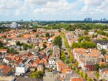 Vue aérienne panoramique de la vieille ville à Delft, Pays-Bas, du photo stock