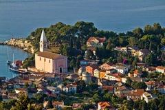 Vue aérienne panoramique de losinj de Veli Photographie stock libre de droits