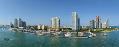 Vue aérienne panoramique de Miami Beach du sud Photos stock