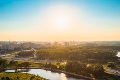 Vue aérienne, paysage urbain de Minsk, Belarus Photographie stock