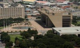 Vue aérienne - plaza d'hôtel de ville de Dallas photographie stock libre de droits