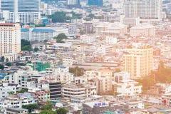 Vue aérienne serrée de résidence de ville photo stock
