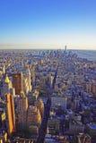 Vue aérienne sur l'horizon à Manhattan du centre et Lower Manhattan Images libres de droits