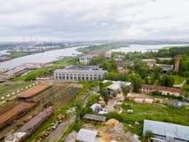 Vue aérienne sur la cour de réparation de Tyumen Russie Image stock