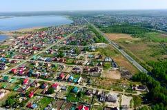 Vue aérienne sur la rue rurale Borovskiy Russie Image libre de droits