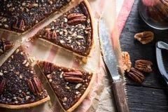 Vue aérienne sur la tarte aux noix de pécan photo stock