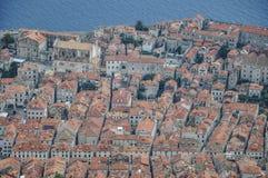 Vue aérienne sur la vieille ville de Dubrovnik en Croatie Image stock