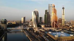 Vue aérienne sur la ville de Moscou de centre d'affaires banque de vidéos