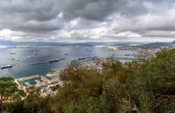Vue aérienne sur le Gibraltar de sa roche Photographie stock libre de droits