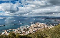 Vue aérienne sur le Gibraltar de sa roche Image stock