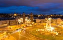 Vue aérienne sur Placa Espanya et colline de Montjuic avec Art Museum national de la Catalogne, Barcelone, Espagne Photos stock