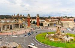 Vue aérienne sur Placa Espanya et colline de Montjuic avec Art Museum national de la Catalogne, Barcelone, Espagne Images stock