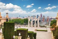 Vue aérienne sur Placa Espanya et colline de Montjuic avec Art Museum national de la Catalogne, Barcelone, Espagne Photographie stock