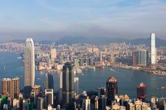 Vue aérienne, ville de Hong Kong au-dessus de Victoria Bay Images stock
