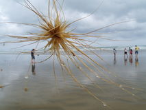 Vue abstraite des amis à la plage Photos stock