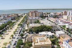 Vue aereal de Sanlucar de Barrameda, Cadix, Espagne image libre de droits