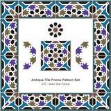 Vue antique d'étoile de l'Islam du modèle set_232 de cadre de tuile Image stock