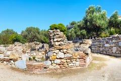 Vue antique d'agora dedans, Athènes, Grèce Images libres de droits