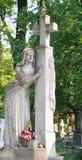 Vue antique de cimetière de Lychakivskyj Images libres de droits