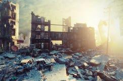 vue apocalyptique de coucher du soleil illustration de vecteur