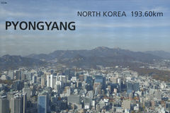 Vue aérienne d'horizon Asie - vue de Séoul Corée du Sud de sommet de tour de Séoul - distance d'expositions vers Pyong Yang, Coré Photos stock