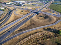 Vue aérienne d'intersection de route Photographie stock