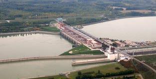 Vue aérienne de barrage de Gabcikovo Image stock