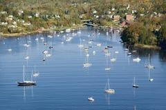 Vue aérienne de Camden Harbor à Camden, Maine Photographie stock