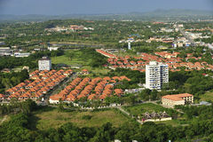 Vue aérienne de composé moderne de maison, plage de Jomtien, Pattaya, Cho Photos stock