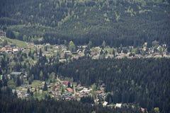 Vue aérienne de Harrachov Image stock