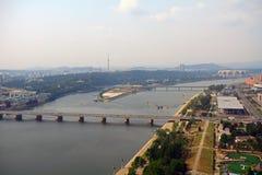 Vue aérienne de la ville, Pyong Yang, Nord-Corée Photos stock
