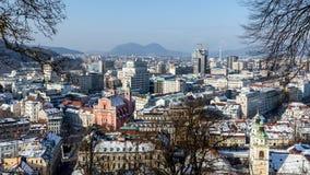 Vue aérienne de Ljubliana Image stock