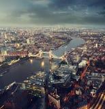 Vue aérienne de Londres avec le pont de tour Photographie stock libre de droits