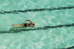 Vue aérienne de natation de recouvrements Photos libres de droits