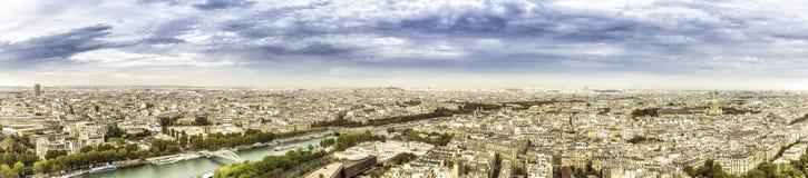 Vue aérienne de panorama sur Paris, France Photographie stock libre de droits