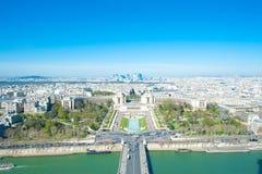 Vue aérienne de Paris, France de Tour Eiffel Images stock