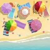 Vue aérienne de plage d'été dans le style plat de conception Photos libres de droits