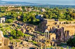 Vue aérienne de Roman Forum Photographie stock libre de droits